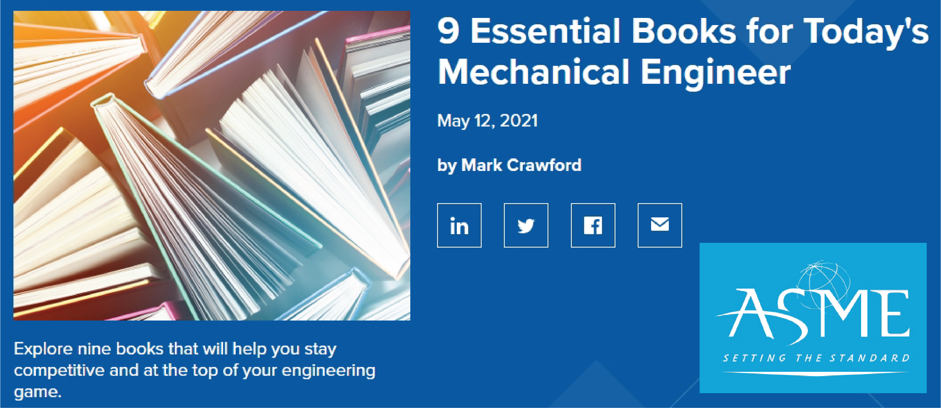 """""""9 Essential Books for Today's Mechanical Engineer"""" by ASME.org"""